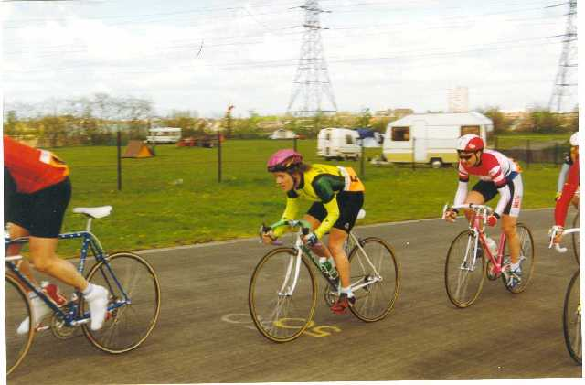 Julia riding the ECCA Festival Ladies/Vets road race around 1990